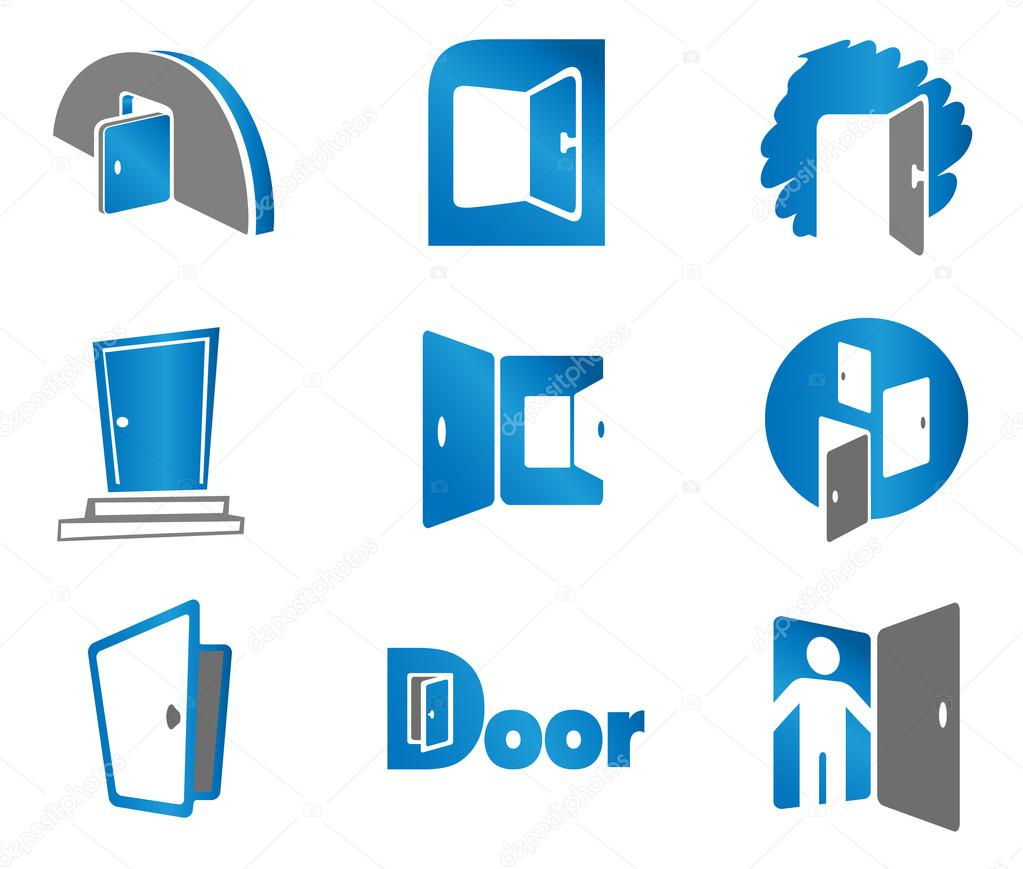 Set of door emblems and signs