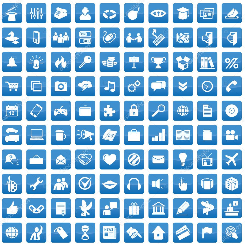 Set of 100 icons for each day