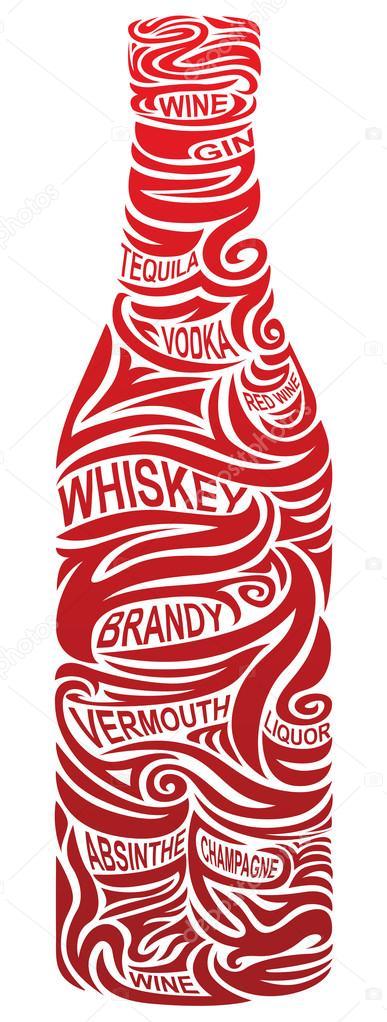 Stylized bottle of alcohol - conceptual image