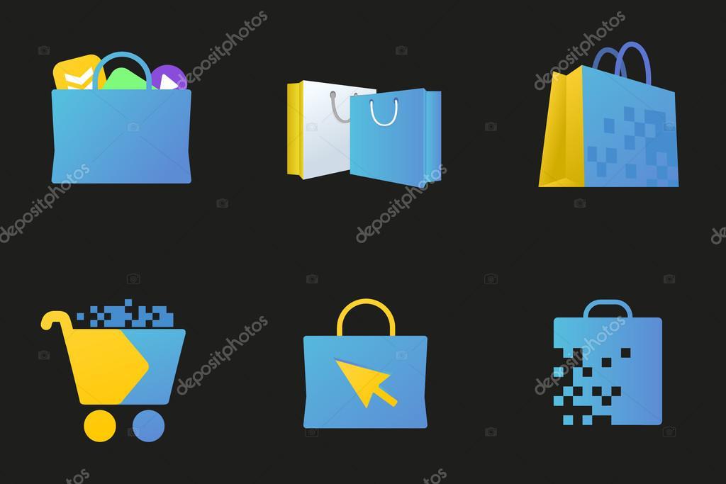 Online market icon, digital store sign