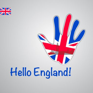Background-hand with the flag of UK