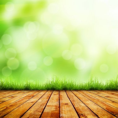 Fresh spring green grass with green bokeh and sunlight and wood floor. Beauty natural background stock vector