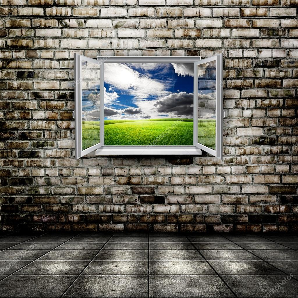 Open window from old room with landscape