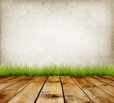 Old wall and green grass on wood floor background stock vector
