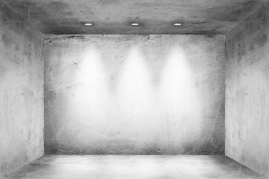 Empty room interior with white wall and spotlights background