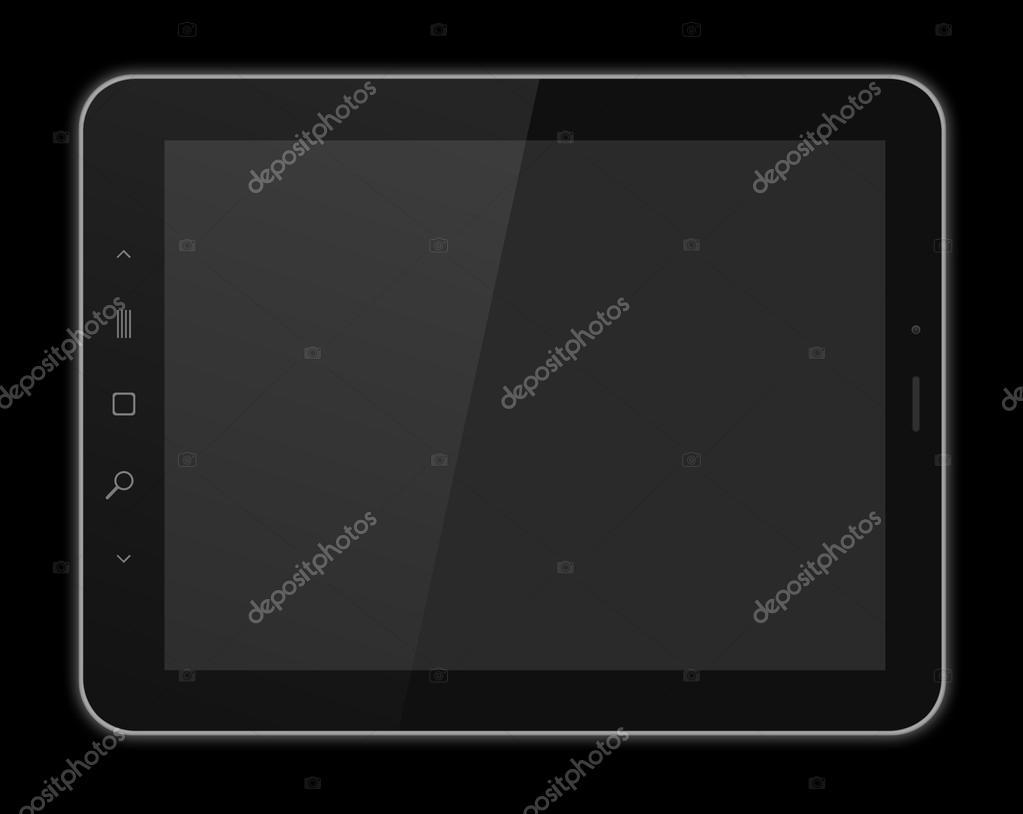 Siyah Tablet Pcde Siyah Arka Plan 3d Render Yüksek çözünürlük