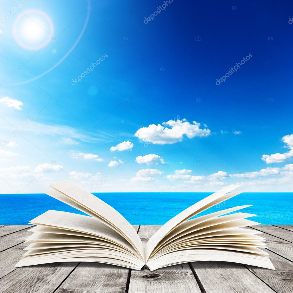 Sea and open book