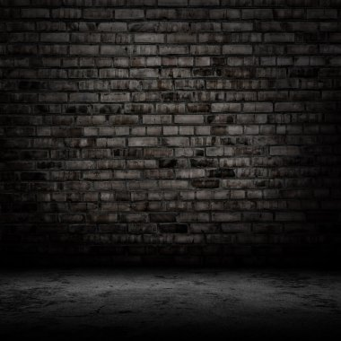 Dark room with tile floor and brick wall background stock vector