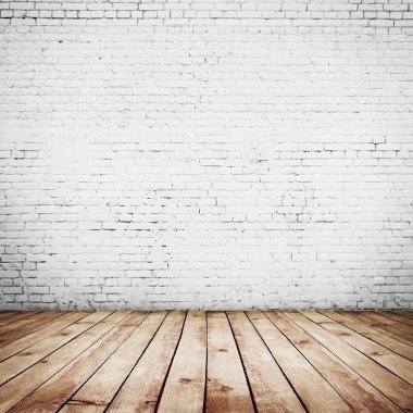 Room interior vintage with white brick wall and wood floor background stock vector