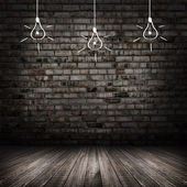 Dark room vintage with wall and wood floor background