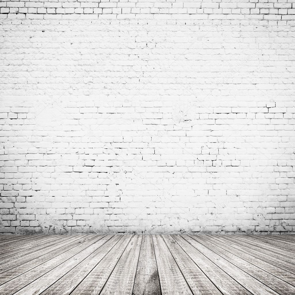 white brick wall and wood floor background stock photo 38240973