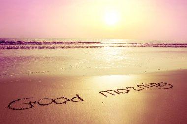 """Картина, постер, плакат, фотообои """"восход солнца, пляж и знак на песке доброе утро """", артикул 42510115"""