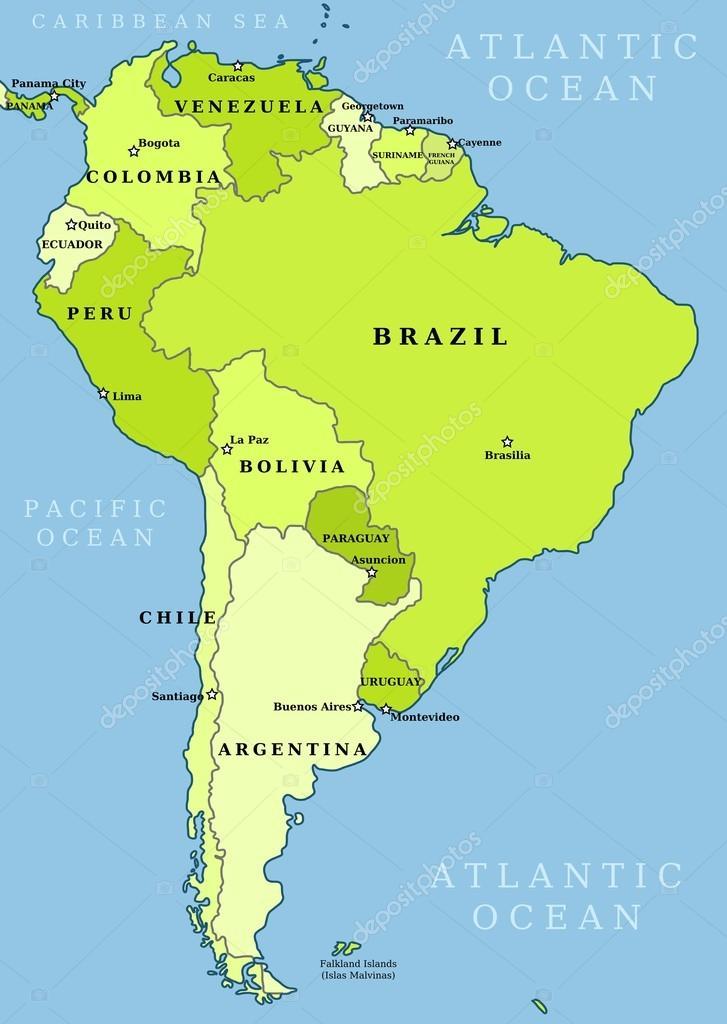 South America Administrative Map Stock Vector C Tupungato 21835705