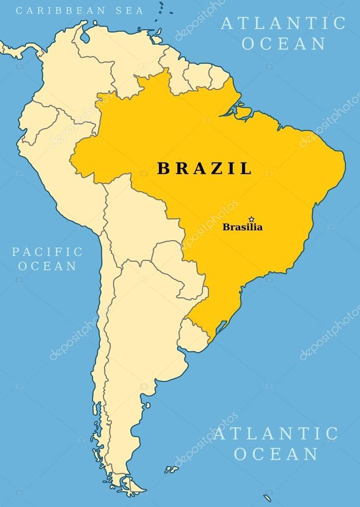 mapa de localización de Brasil — Archivo Imágenes