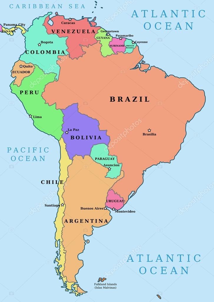 amerika térkép országok Dél Amerika politikai térképe — Stock Vektor © tupungato #24049389 amerika térkép országok