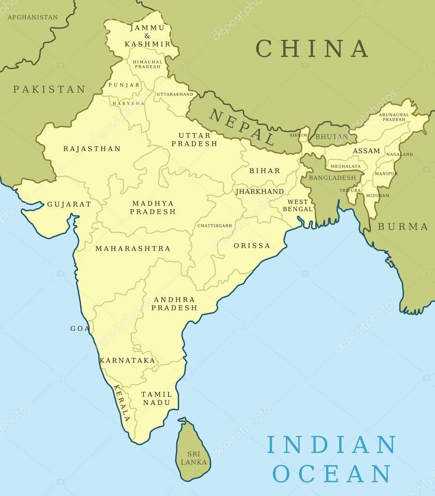 Indien Stater Stock Vektor C Tupungato 24049833