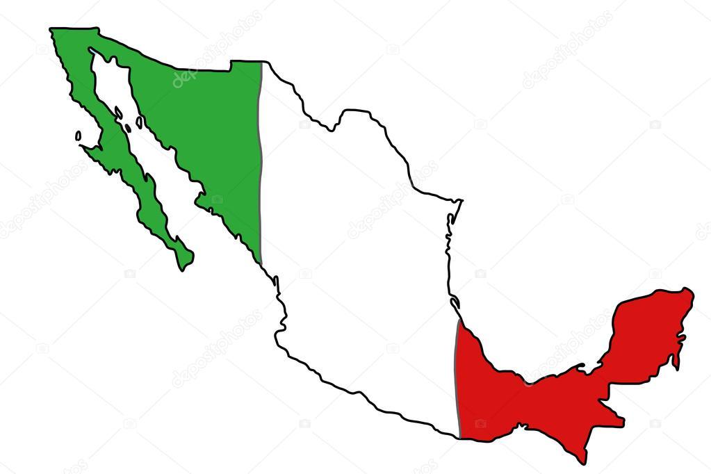 Mexiko Flagge Karte — Stockvektor © tupungato #30271943