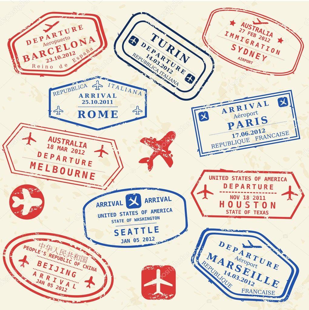 Passport stamp set