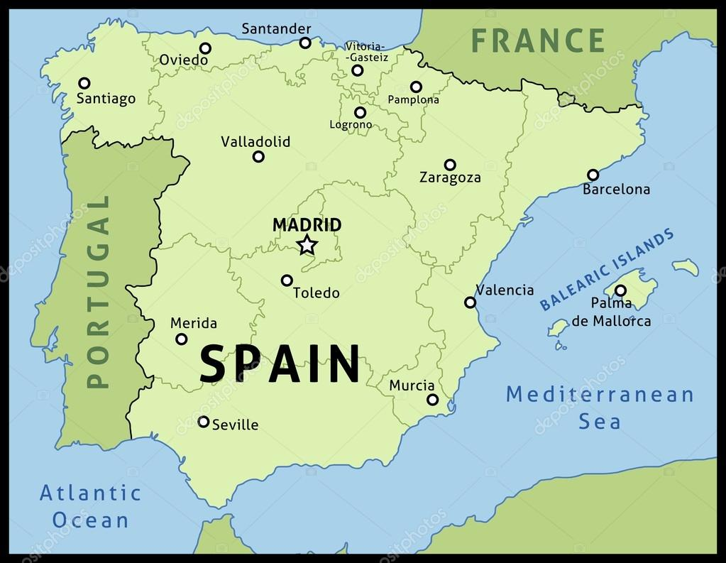 map of spain stock vector