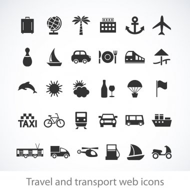 Travel and transport web icons