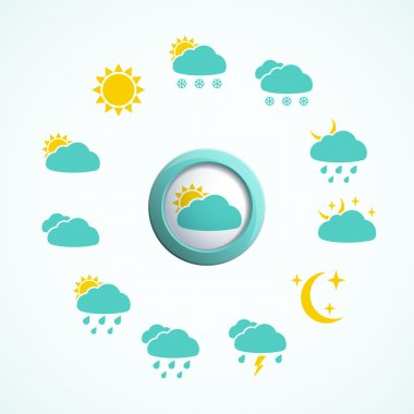 3d button with Weather icons set. Vector illustration. clip art vector