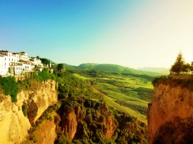 Panoramic view from New bridge in Ronda, one of the famous white