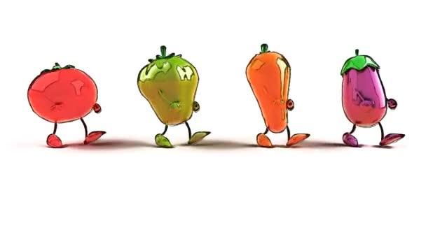 Cartone animato verdure ballando — video stock julos