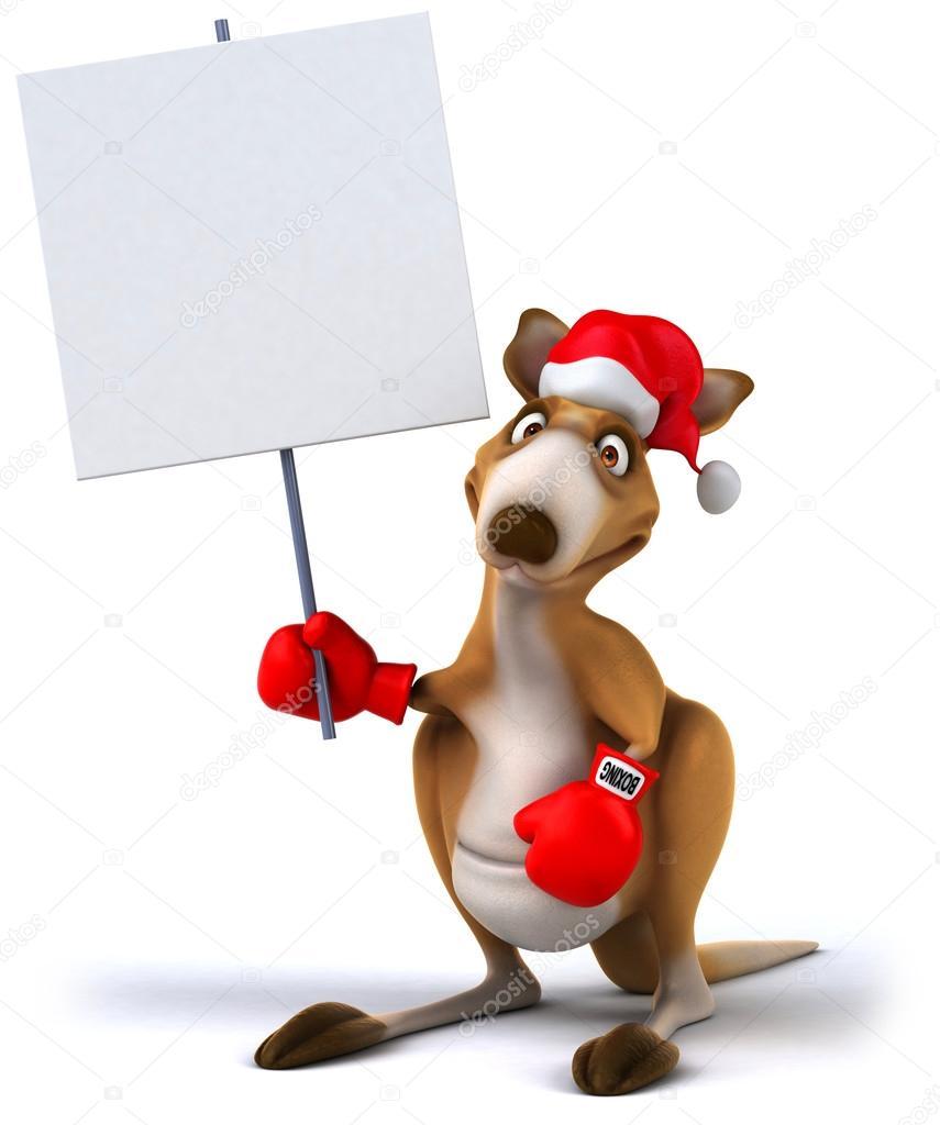 Christmas Kangaroo Cartoon.Christmas Kangaroo Boxer With A Sign Stock Photo C Julos