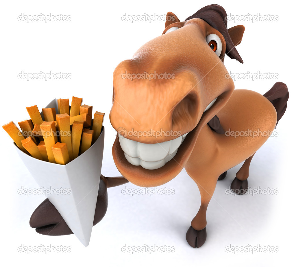fun pferd und pommes frites stockfoto julos 48922829. Black Bedroom Furniture Sets. Home Design Ideas