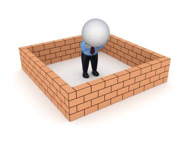 3d small person behind brick wall.