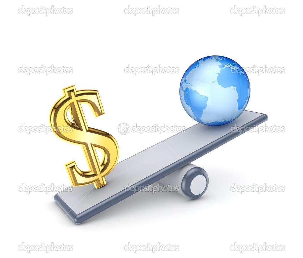 Dollarzeichen Und Globus Auf Einer Waage Stockfoto C Rukanoga