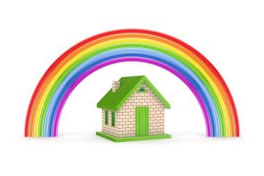 Rainbow and small house.