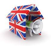 Mega [hone pod střechou na britské vlajky