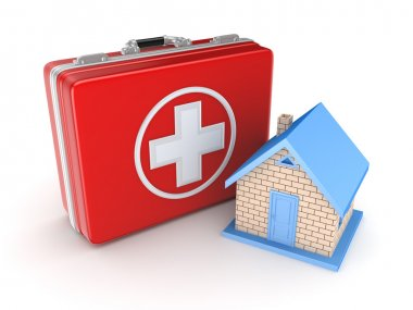 Red medical suitcase and small house.