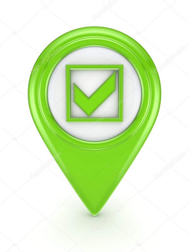 Icono Verde Con Un Símbolo De La Marca Tick Foto De Stock