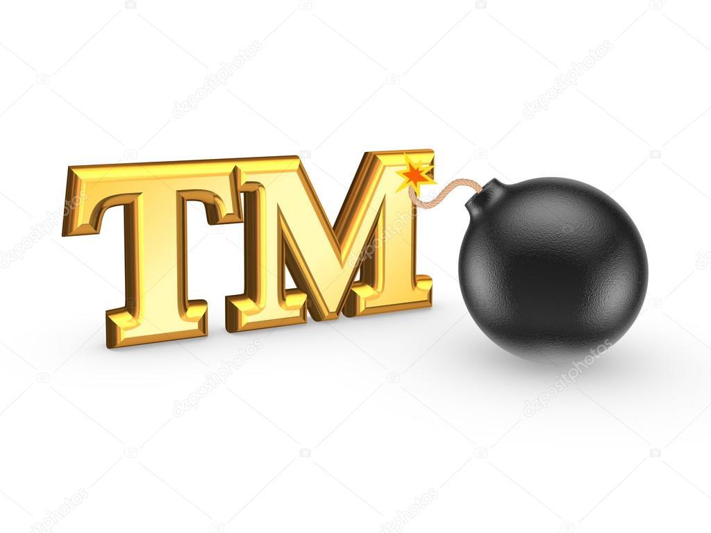 Tm symbol and black bomb stock photo rukanoga 26772669 tm symbol and black bombolated on white3d rendered photo by rukanoga buycottarizona