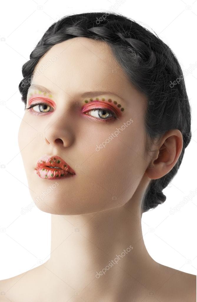 el maquillaje floral, ha resultado de tres cuartos — Fotos de Stock ...
