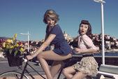vtipné ročník dívky na kole poblíž moře
