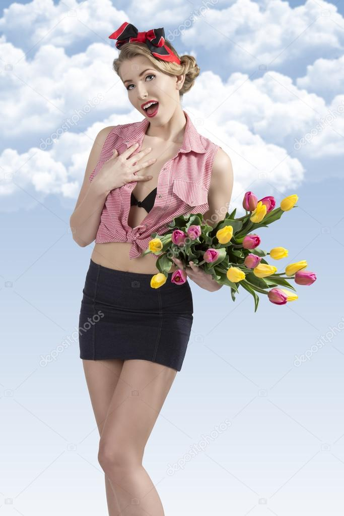 portrait of funny pin-up with flowers