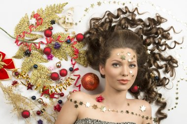 pretty woman with christmas decorations