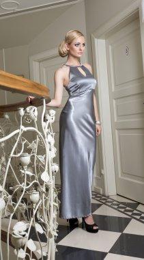 blond elegant woman in luxory hotel