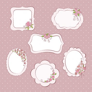 Set of vector vintage frames with flowers clip art vector