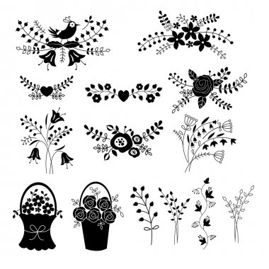 Set of floral design elements isolated over white stock vector