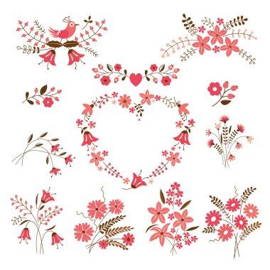 Set of flower design elements