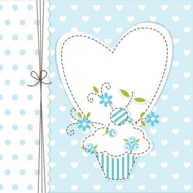 Blue cupcake background