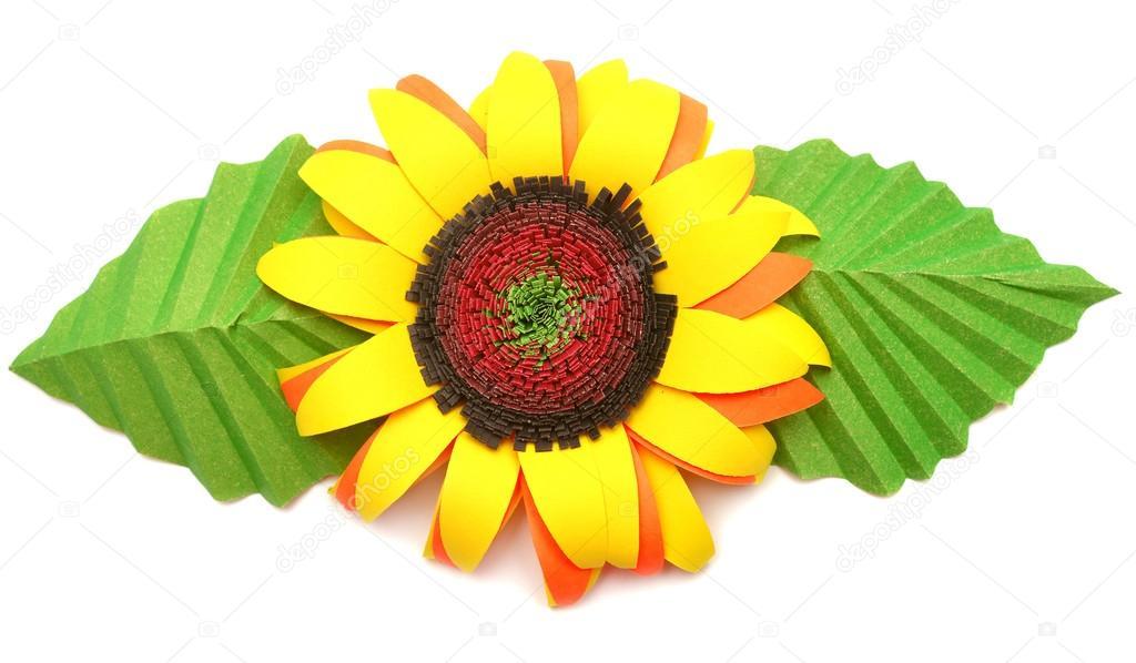 Origami Sunflower Isolated On White Background Stock Photo