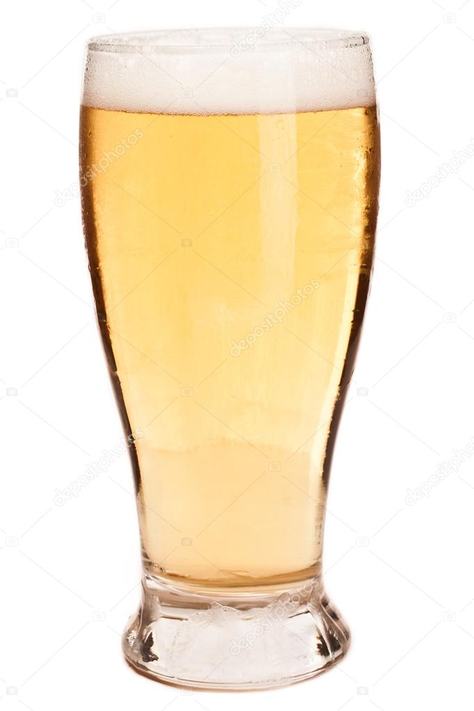Light pint of beer isolated on a white background