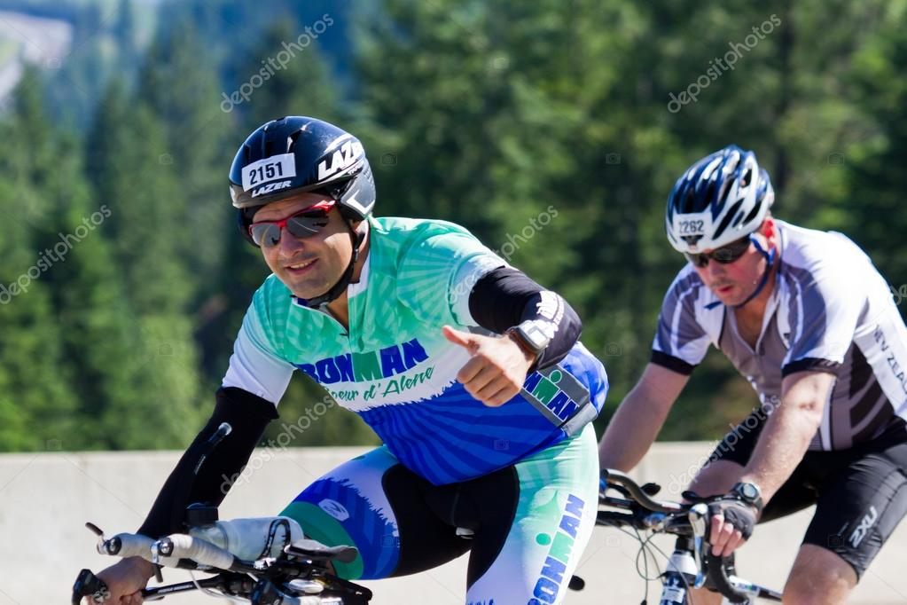 Gonzalo Armendariz in the Coeur d' Alene Ironman cycling