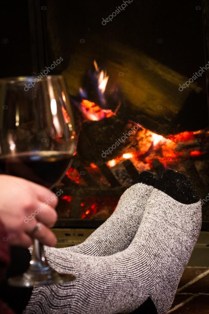Relaxing fireplace — Stock Photo © wollertz #42449057