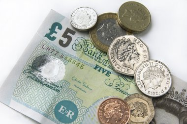 Fiver and coins